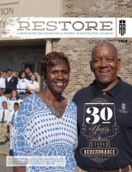 Restoration Academy's 2018 Annual Report