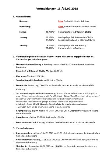 Vermeldungen für KW38/18