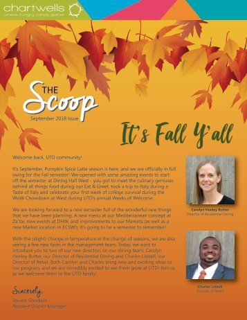 The Scoop by UTD Dining Services - September 2018 Issue