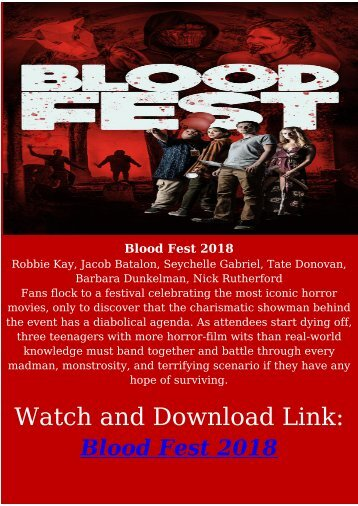 Streaming FULL HORROR MOVIE Blood Fest 2018 HD-BLURAY