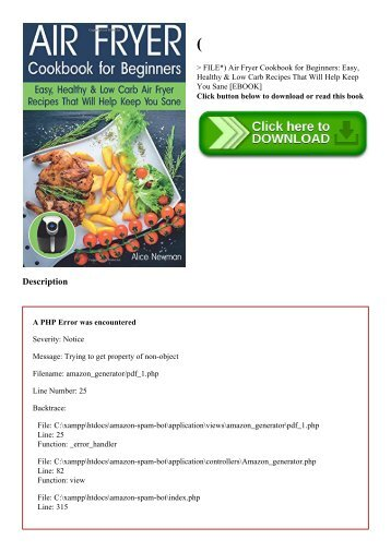 (P.D.F. FILE) Air Fryer Cookbook for Beginners Easy  Healthy & Low Carb Recipes That Will Help Keep You Sane [EBOOK]