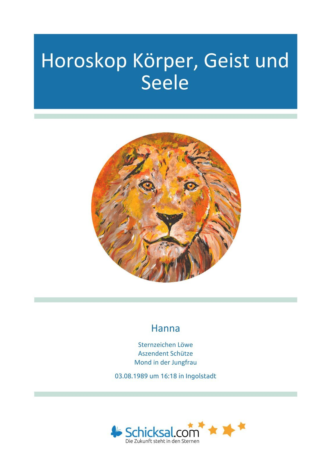 Horoskop Körper, Geist und Seele Hanna