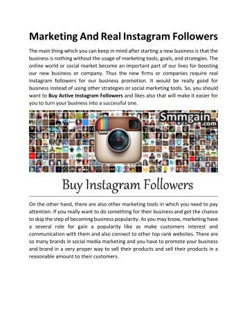 Marketing And Real Instagram Followers