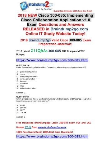 [2018-September-Version]New Braindump2go 300-085 Dump with PDF and VCE 211Q&As Free Share(134-144)