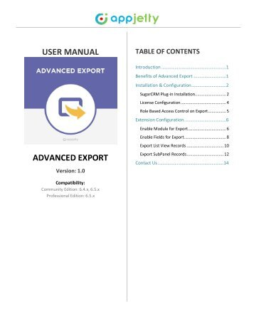 SugarCRM Advanced Export Plugin - AppJetty