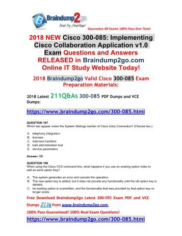 [2018-September-Version]New Braindump2go 300-085 VCE and 300-085 PDF Dumps 211Q&As Free Share(187-202)