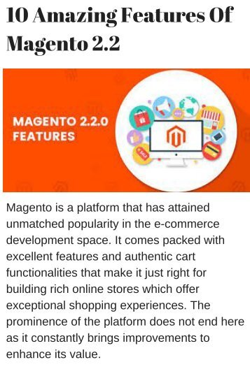 10 Amazing Features Of Magento 2.2