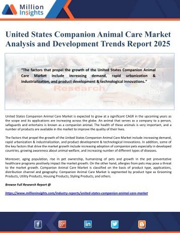 United States Companion Animal Care Market Analysis and Development Trends Report 2025