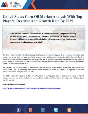 United States Corn Oil Market Analysis With Top Players, Revenue And Growth Rate By 2025