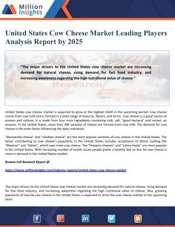 United States Cow Cheese Market Leading Players Analysis Report by 2025