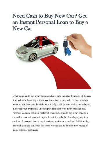 Need Cash to Buy New Car Get an Instant Personal Loan to Buy a New Car