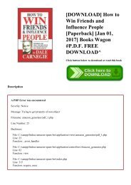 [DOWNLOAD] How to Win Friends and Influence People [Paperback] [Jan 01  2017] Books Wagon #P.D.F. FREE DOWNLOAD^