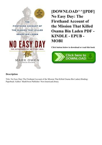 No Easy Day Epub