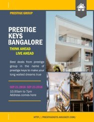 Prestige Keys Bangalore Best Deals from Prestige in 2018