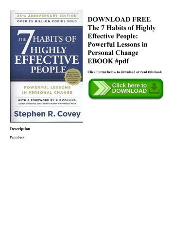 DOWNLOAD FREE The 7 Habits of Highly Effective People Powerful Lessons in Personal Change EBOOK #pdf