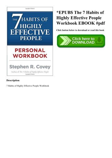 EPUB$ The 7 Habits of Highly Effective People Workbook EBOOK #pdf
