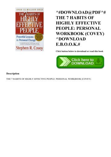 ^#DOWNLOAD@PDF^# THE 7 HABITS OF HIGHLY EFFECTIVE PEOPLE PERSONAL WORKBOOK (COVEY) ^DOWNLOAD E.B.O.O.K.#
