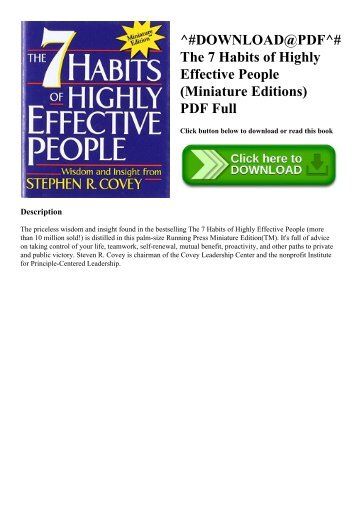 ^#DOWNLOAD@PDF^# The 7 Habits of Highly Effective People (Miniature Editions) PDF Full