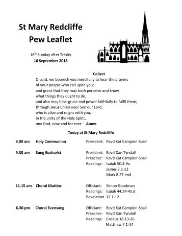 St Mary Redcliffe Church Pew Leaflet - September 16 2018