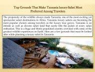 Top Grounds That Make Tanzania luxury-Safari Most Preferred Among Travelers