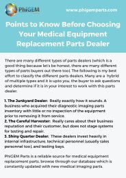 3 Points to Consider for Medical Equipment Replacement Parts Supplier