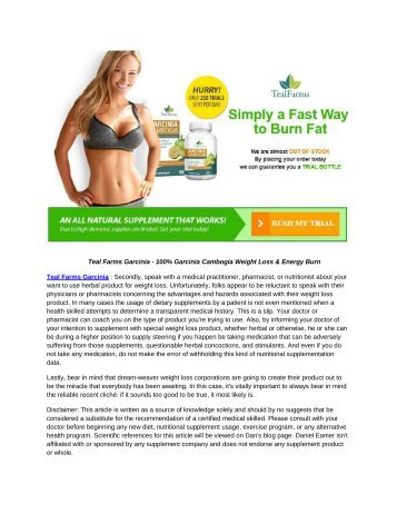 Teal Farms Garcinia - The Newest Fat Burning Formula For Everyone