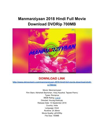 Manmarziyaan 2018 Hindi Full Movie Download DVDRip 700MB - WAtch Online