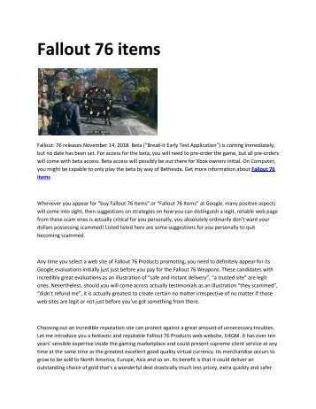 6 Fallout 76 items