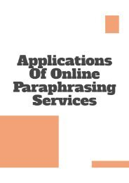 Applications of Online Paraphrasing Services