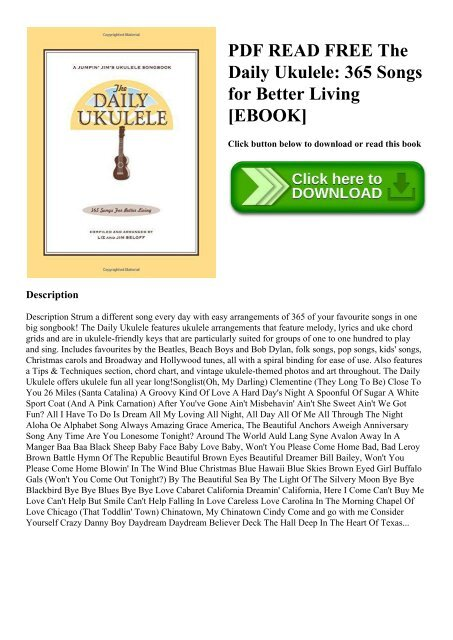 365 Songs for Better Living The Daily Ukulele