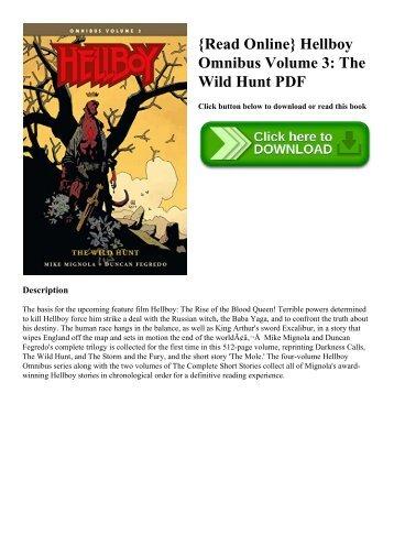 {Read Online} Hellboy Omnibus Volume 3 The Wild Hunt PDF