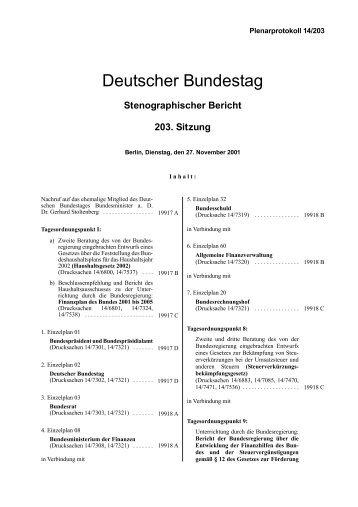 Stenographischer Bericht 203. Sitzung - Deutscher Bundestag