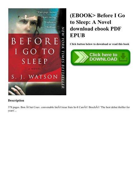 go book pdf before i to sleep