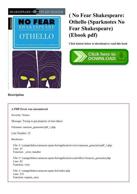 B O O K $ No Fear Shakespeare Othello (Sparknotes No Fear
