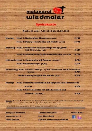 Speisekarte Glatten KW 38