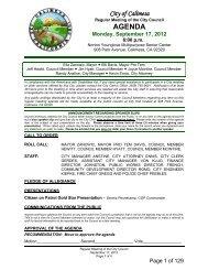 AGENDA Monday, September 17, 2012 - City of Calimesa