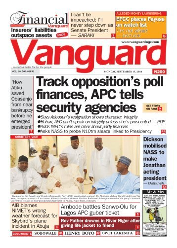 17092018 - Track opposition's poll finances, APC tells security agencies
