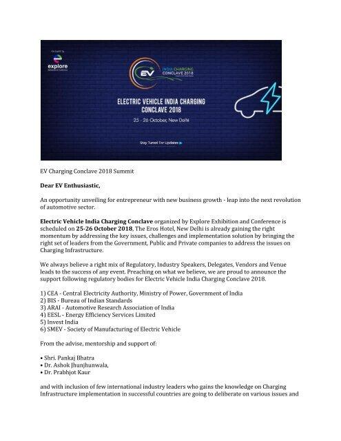 EV Charging Conclave 2018 Summit PR1-converted