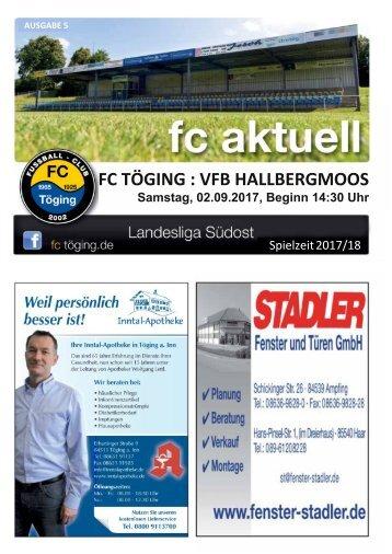 """""""fc aktuell"""" Saison 2017-18 Ausgabe 5"""