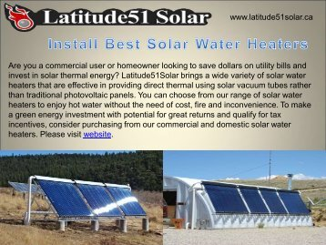 Install Best Solar Water Heaters