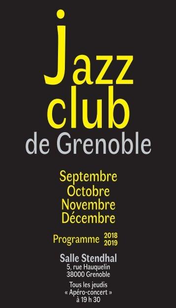 Programme  Jazz Club de Grenoble  Septembre à Décembre 2018