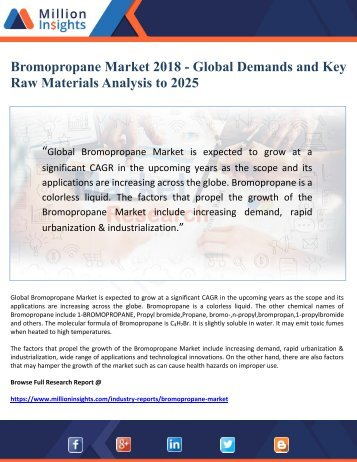 Bromopropane Market 2018 - Global Demands and Key Raw Materials Analysis to 2025