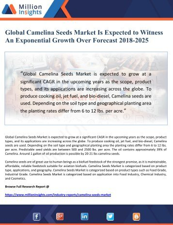 Global Camelina Seeds Market Is Expected to Witness An Exponential Growth Over Forecast 2018-2025