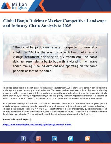 Global Banjo Dulcimer Market Competitive Landscape and Industry Chain Analysis to 2025