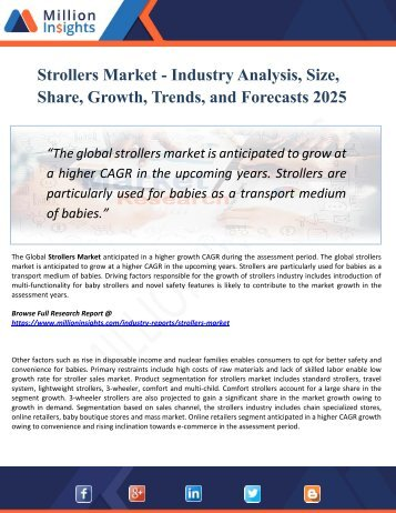 Strollers Market Segmented by Material, Type, Application, and Geography - Growth, Trends and Forecast 2025