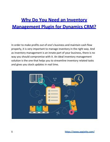 Why Do You Need an Inventory Management Plugin for Dynamics CRM?