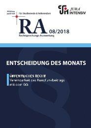 RA 08/2018 - Entscheidung des Monats