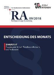 RA 09/2018 - Entscheidung des Monats