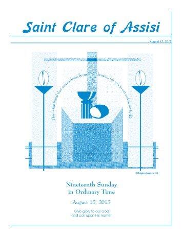 Bulletin - August 12, 2012 - Saint Clare of Assisi Parish