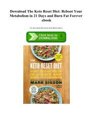 Download The Keto Reset Diet Reboot Your Metabolism in 21 Days and Burn Fat Forever ebook